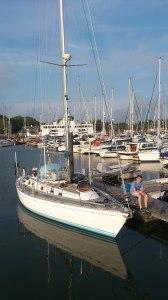 Båten er sjøsatt og kan snart fraktes hjem. 2013