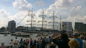 Tall ships arriving Amsterdam during SAIL and small vessels in between