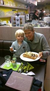 Linus and I eating Belgiand Waffel.