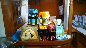 Belgian bier. Hans is really happy.