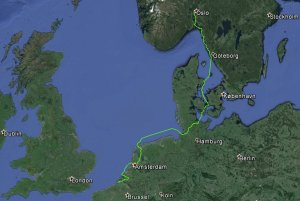 This is oure route so far from Oslo to Vlissingen, Netherland