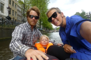 Dinghy sightseeing on the channel in Amsterdam. Recommended.