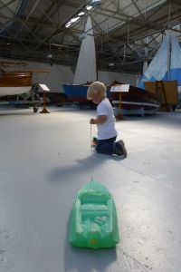 Linus was more exited about the toys at the classic boat museum.