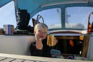 Linus finally eating after some heavy sea from Lymington to Brest.