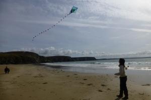 Stranger at the beach playing. Anse de Pen-Hir.